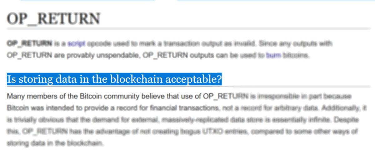 Storing data in the blockchain