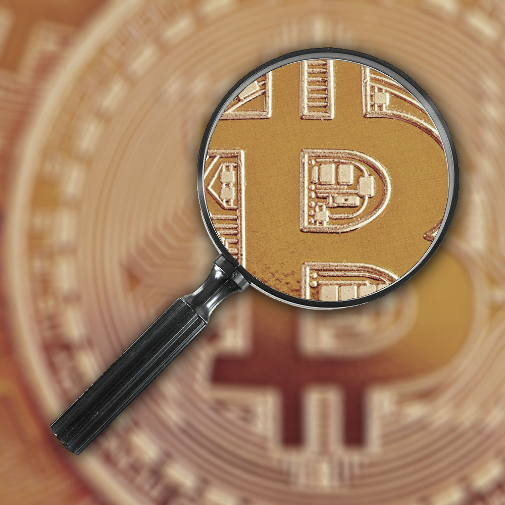Bitcoin magnifying glass